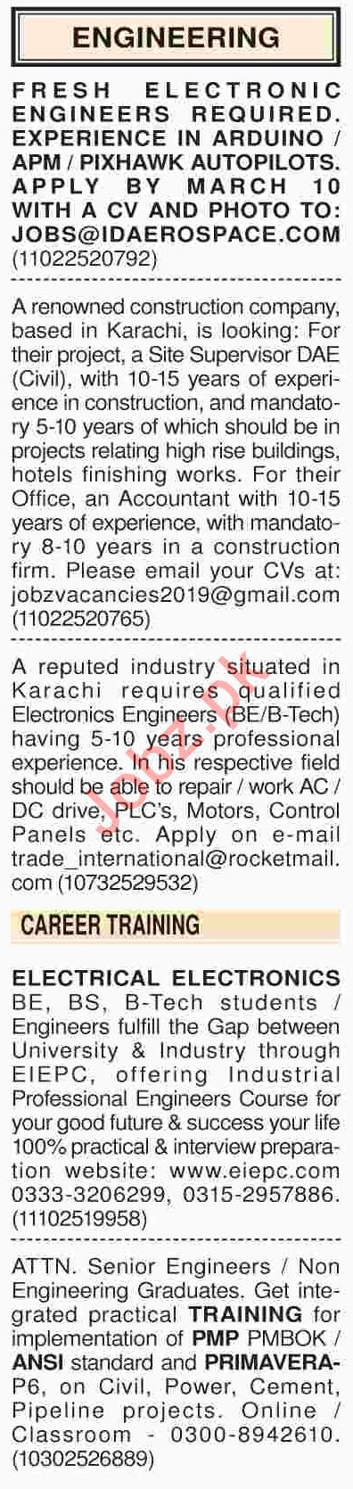 Dawn Sunday Classified Ads 3rd March 2019 Engineering Staff