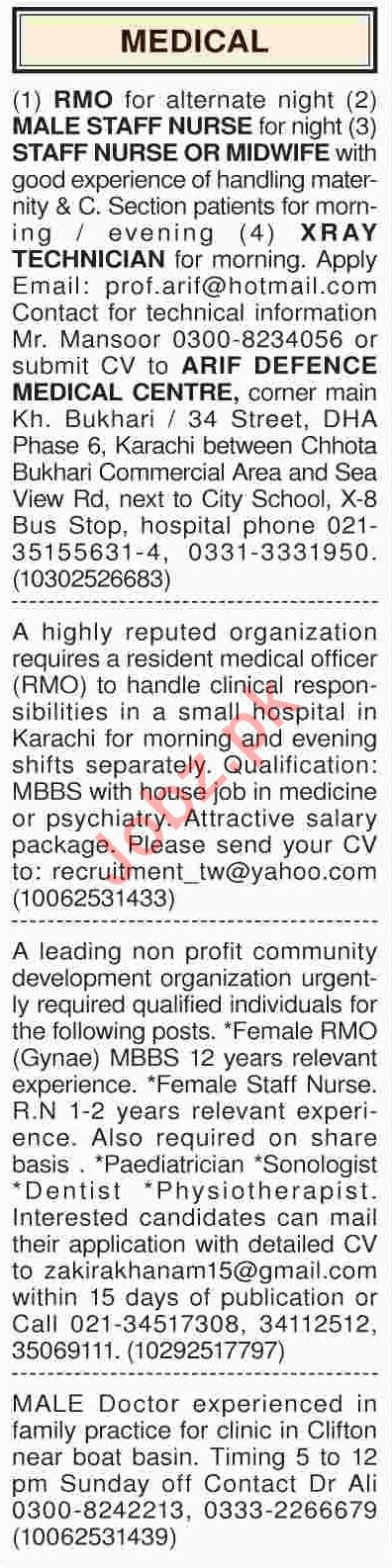 Dawn Sunday Classified Ads 3rd March 2019 for Medical Staff