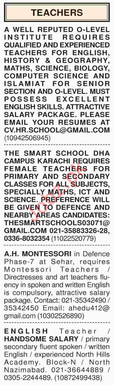 Dawn Sunday Classified Ads 3rd March 2019 for Teaching Staff