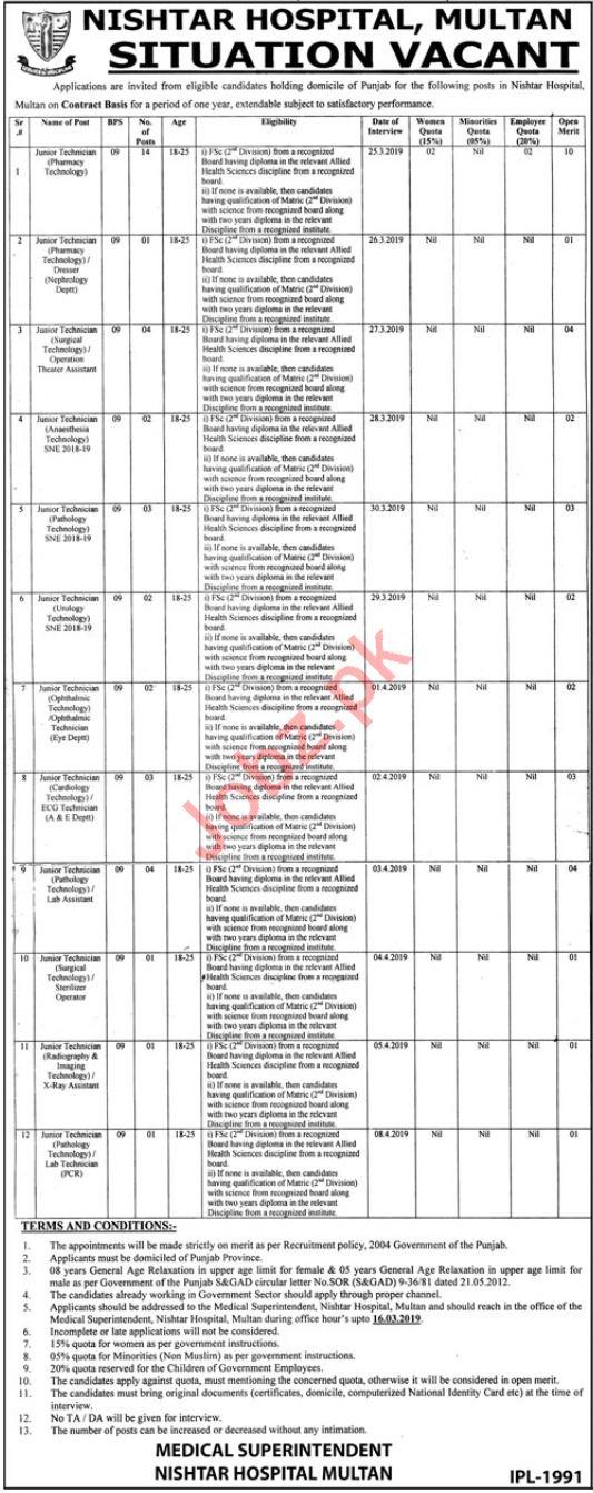Nishter Hospital Multan Jobs 2019 for Clinical Technicians