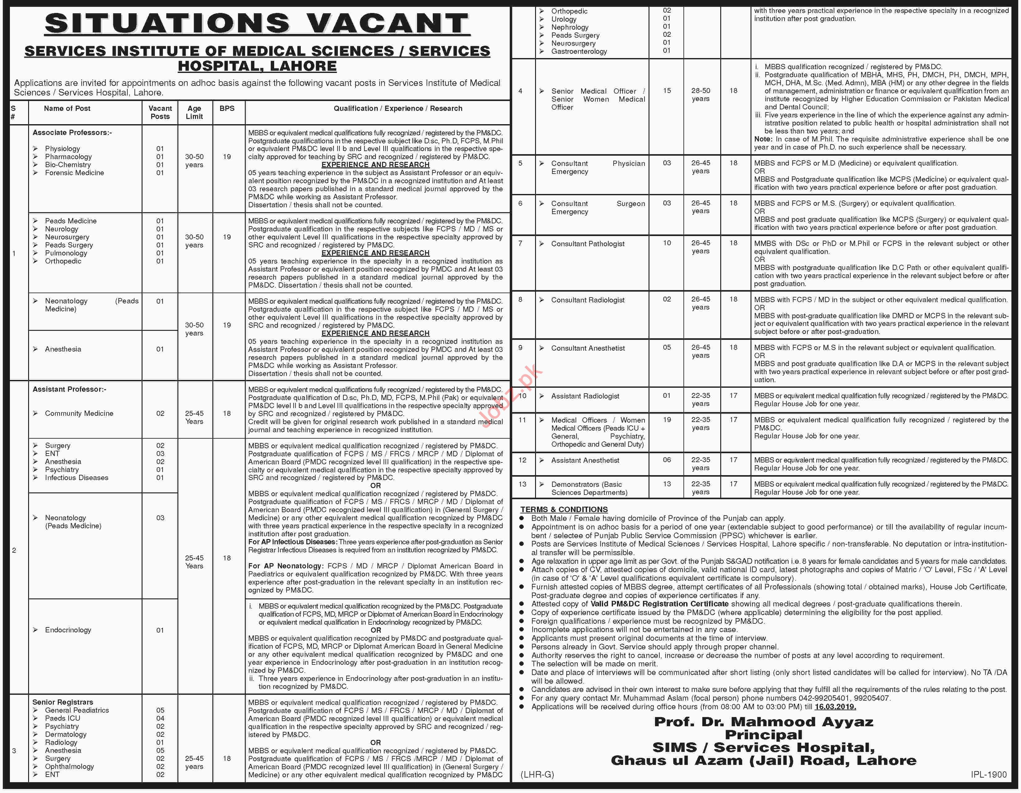 Services Hospital Lahore Jobs 2019 for Professors & Doctors
