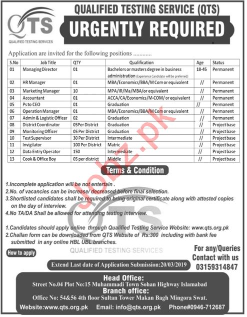 Qualified Testing Service QTS Islamabad Jobs 2019