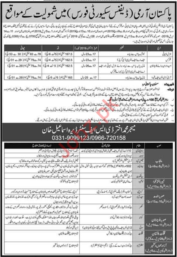 Defence Security Force Clerical Jobs 2019