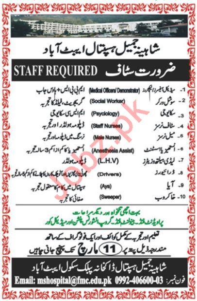 Shahina Jamil Hospital Abbottabad Jobs 2019 for Doctors