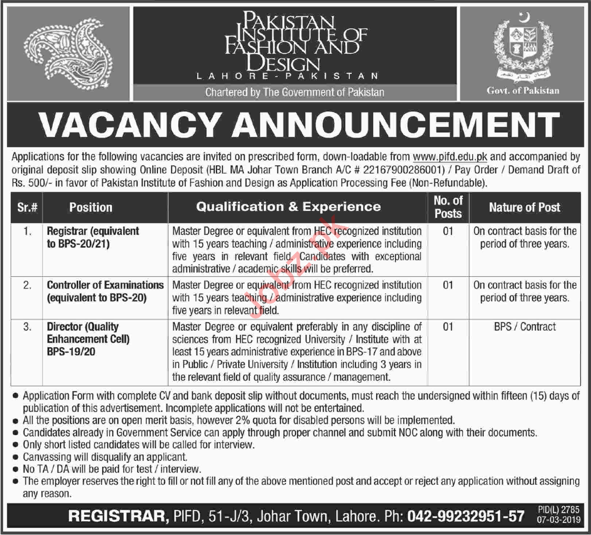 Pakistan Institute Of Fashion Design Jobs 2019 In Lahore 2020 Job Advertisement Pakistan