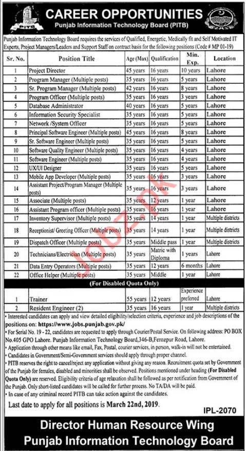 Punjab Information Technology Board PITB Lahore Jobs 2019