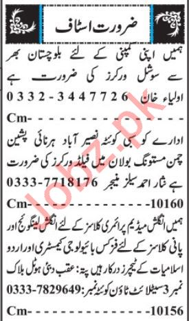 Daily Jang Newspaper Classified Jobs 2019 In Quetta