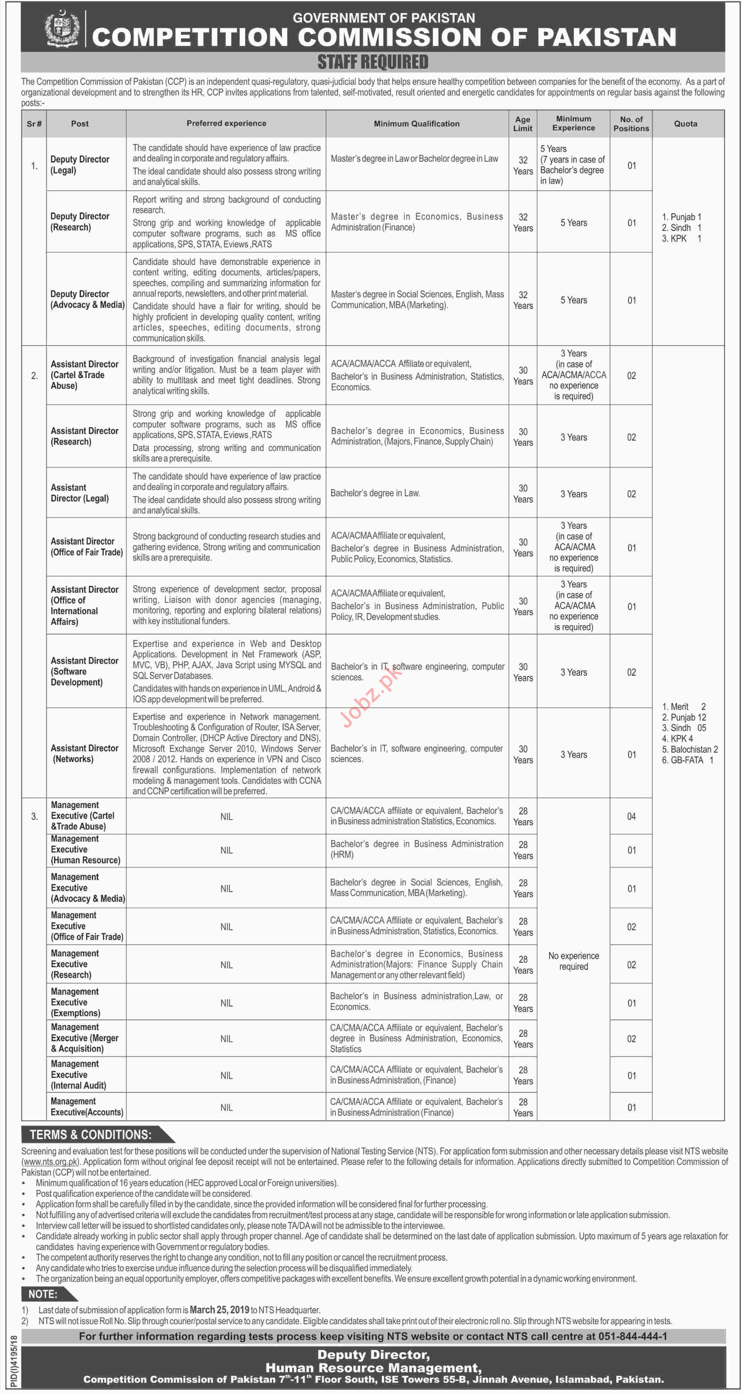 Competition Commission of Pakistan CCP Jobs 2019