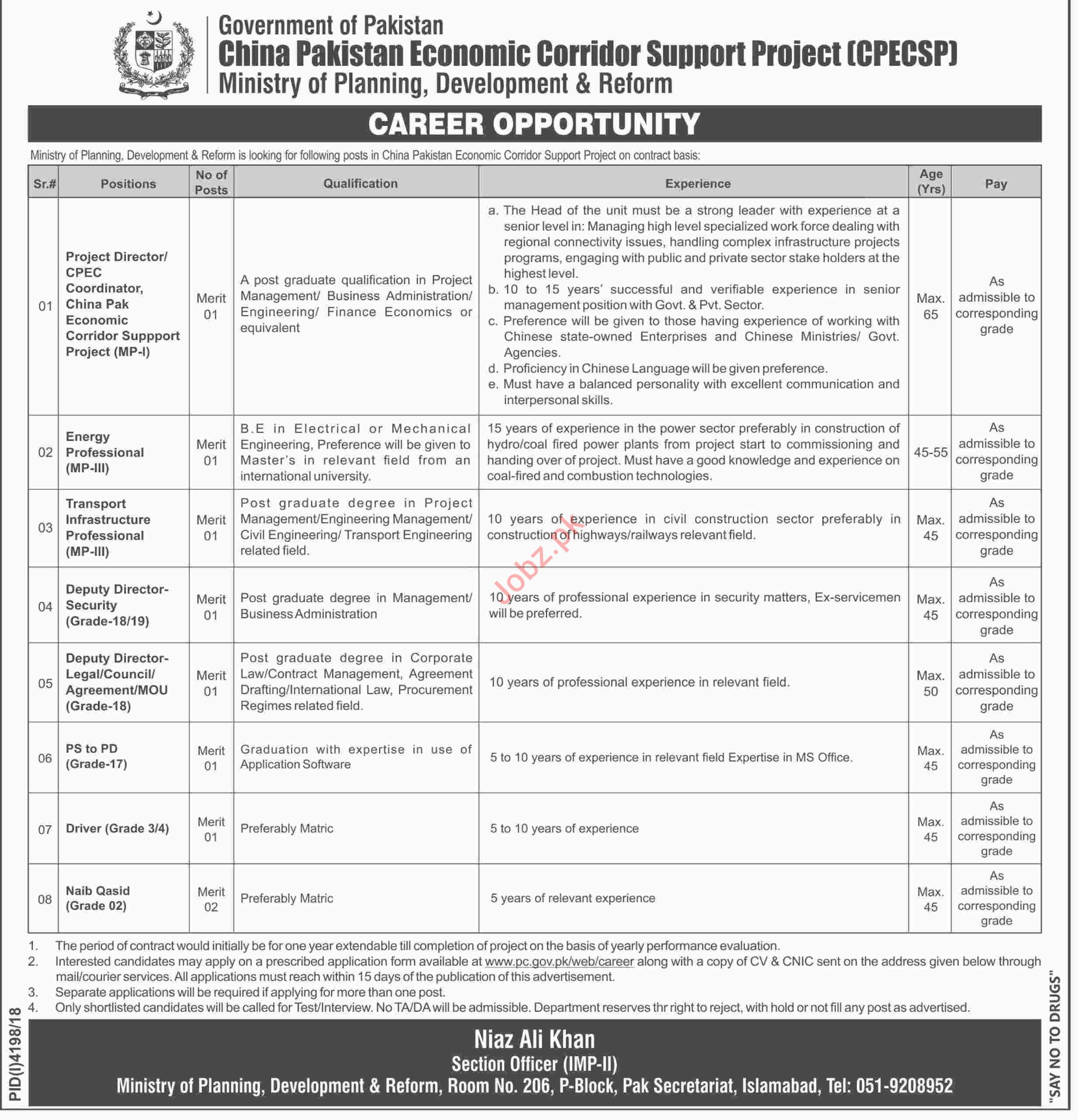 China Pakistan Economic Corridor Support Project CPEC Jobs