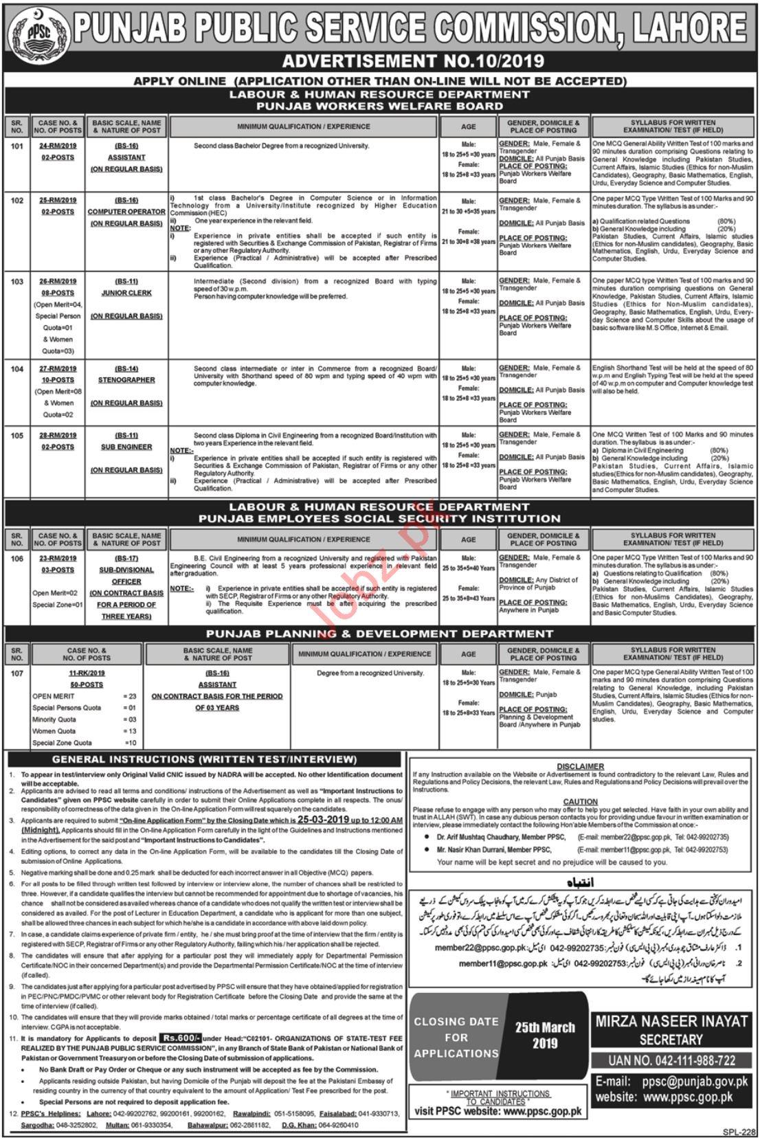 Punjab Public Services Commission PPSC Jobs 2019