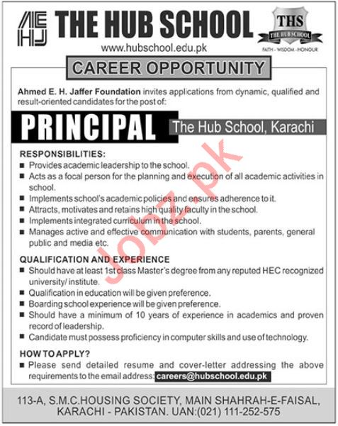 Ahmed E H Jaffer Foundation Principal Job 2019 in Karachi