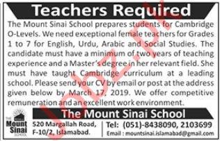 The Mount Sinai School Teaching Jobs 2019 Job Advertisement