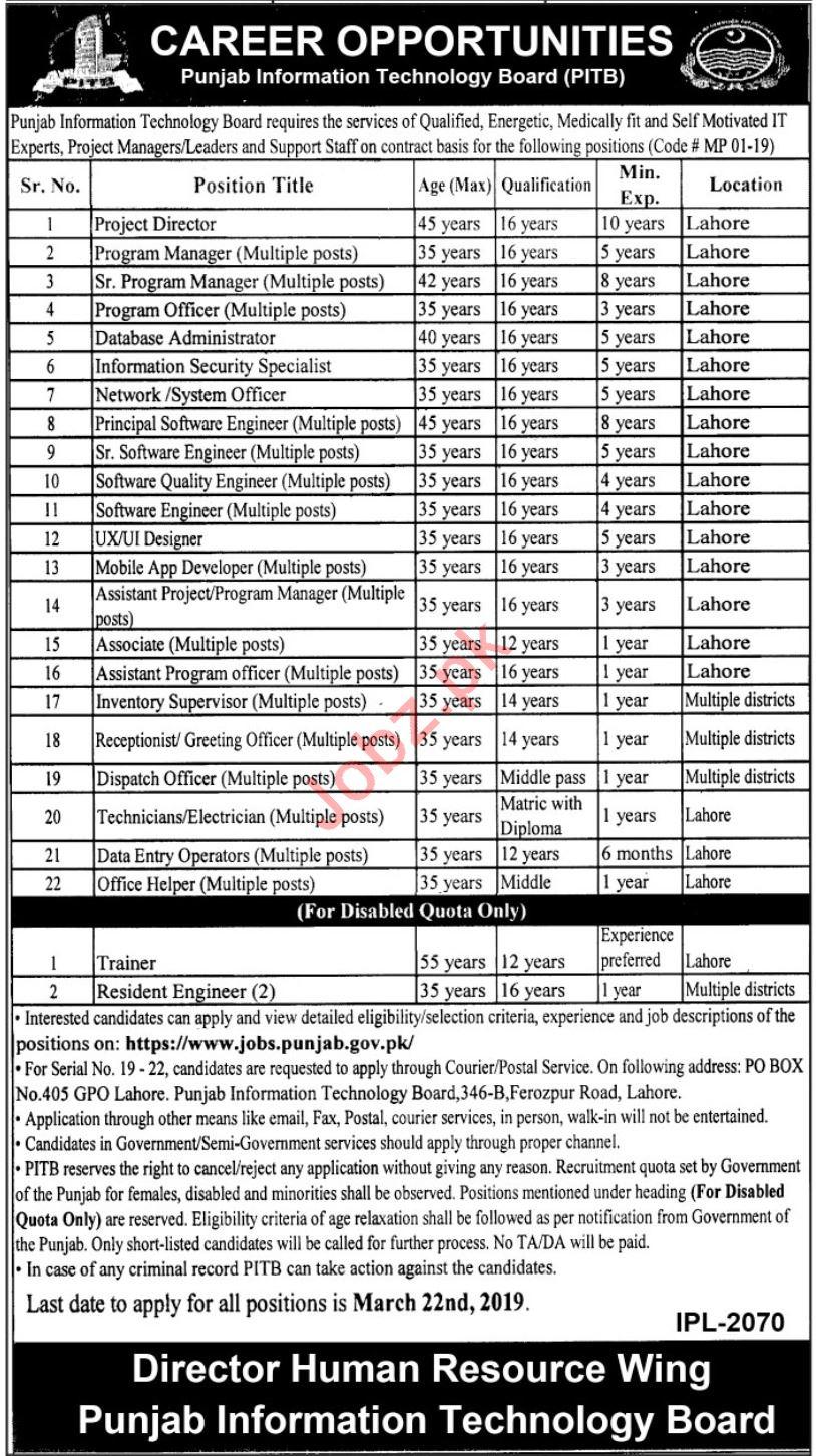 Punjab Information Technology Board Management Jobs 2019