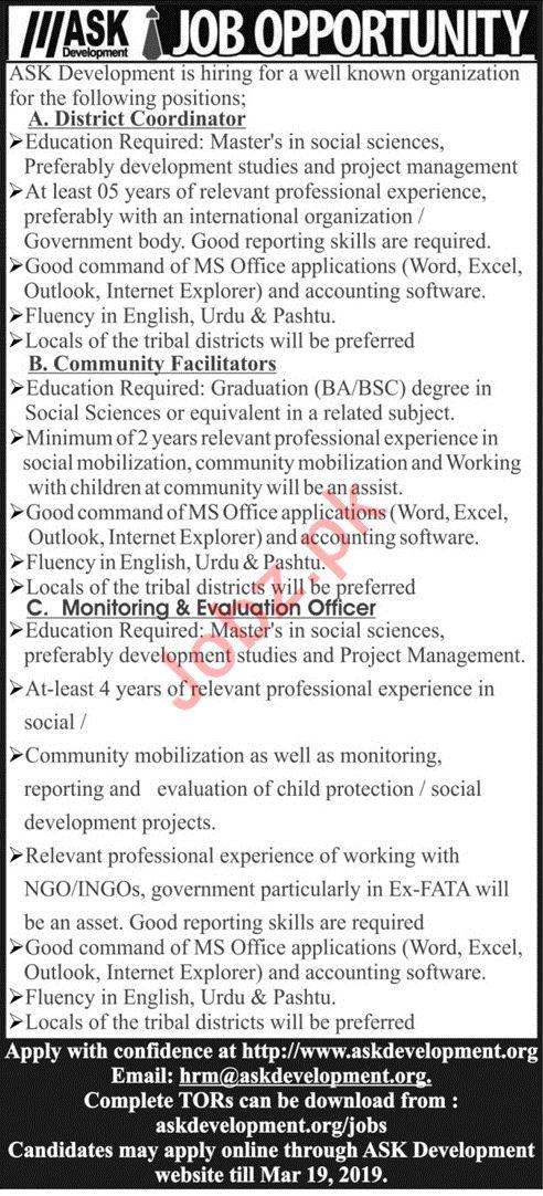 ASK Development Jobs 2019 For Peshawar KPK