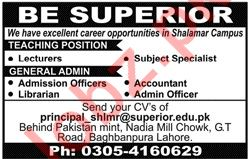 Superior College Lahore Jobs 2019 for Lecturers 2019 Job
