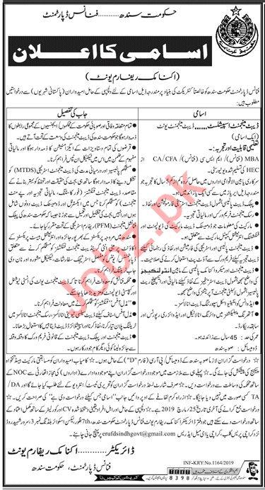 Finance Department Economic Reform Unit Sindh Jobs 2019