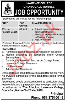 Lawrence College Ghora Gali Murree Jobs for Coach