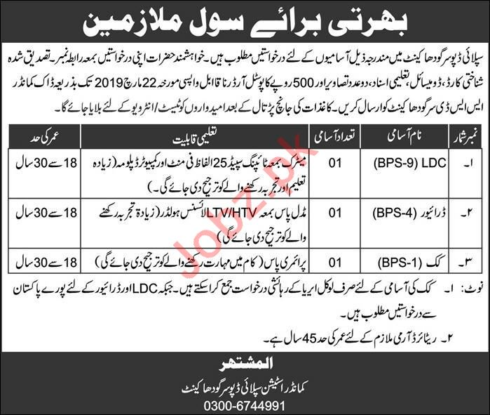 Supply Depot Sargodha Cantt Jobs for Driver, LDC & Cook