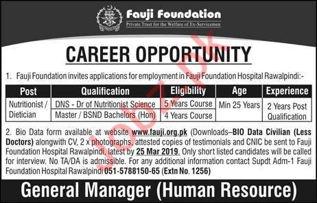 Fauji Foundation Rawalpindi Jobs 2019 for Nutritionist