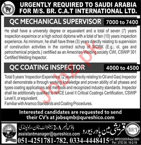 QC Mechanical Supervisor & QC Coating Inspector Jobs