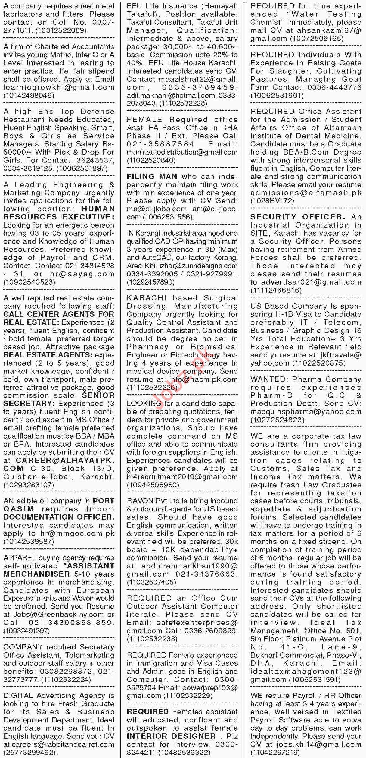 Dawn Sunday Classified Ads 10th March 2019 General Staff