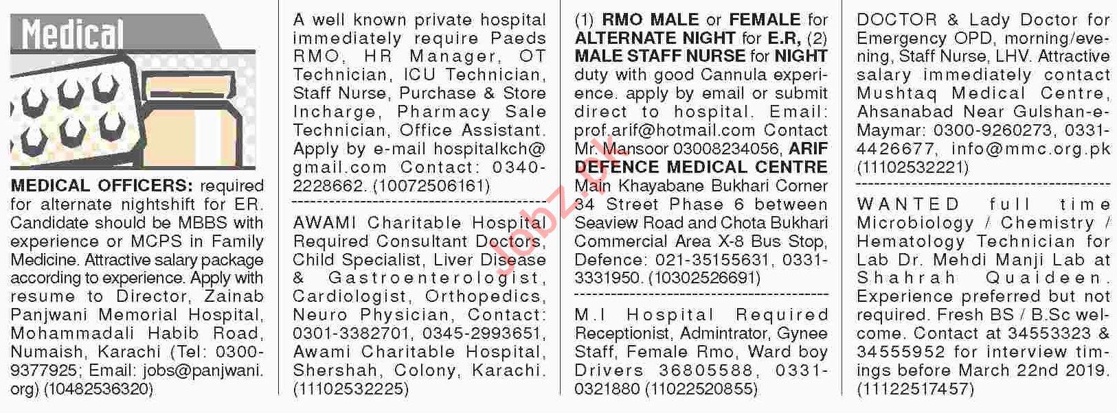 Dawn Sunday Classified Ads 10th March 2019 Medical Staff