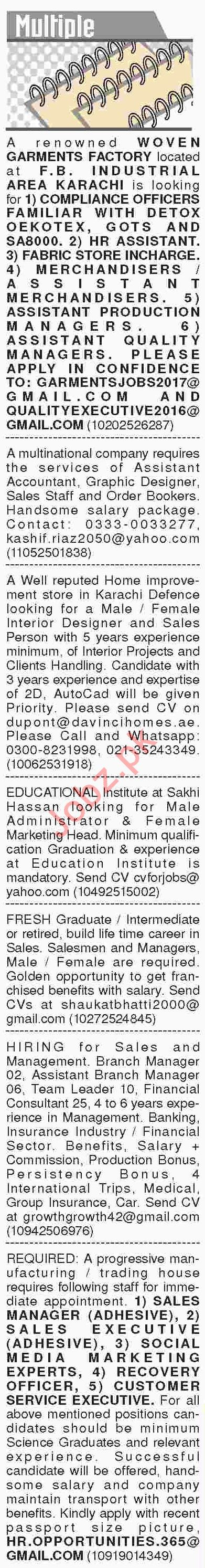 Dawn Sunday Classified Ads 10th March 2019 Multiple Staff