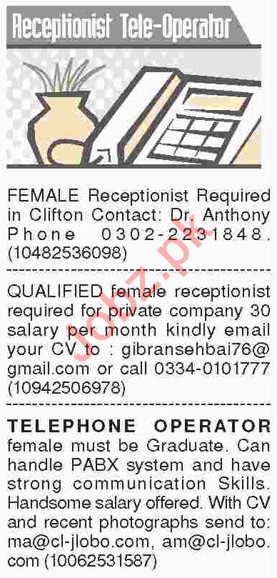 Dawn Sunday Classified Ads 10th March 2019 for Receptionist