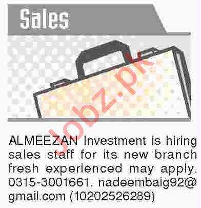 Dawn Sunday Classified Ads 10th March 2019 for Sales Staff