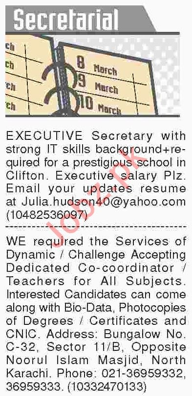 Dawn Sunday Classified Ads 10th March 2019 for Secretarial