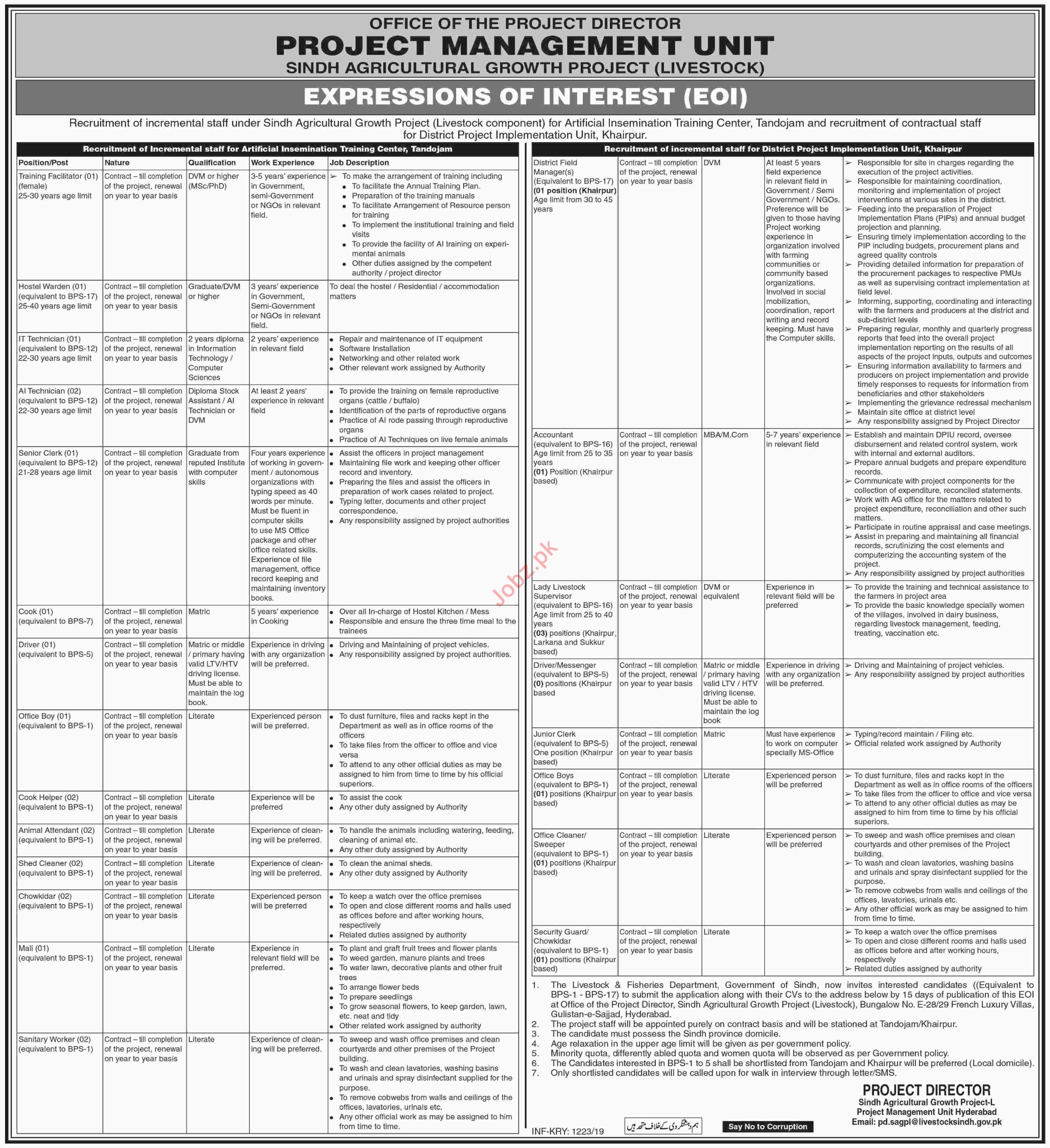 Sindh Agriculture Growth Project SAGP Khairpur Jobs 2019
