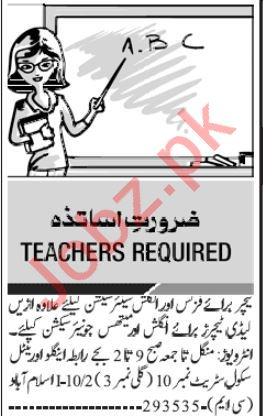 Teachers Jobs Open in Rawalpindi