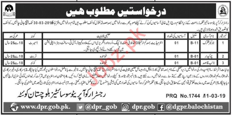 Agriculture Department Jobs 2019 For Quetta