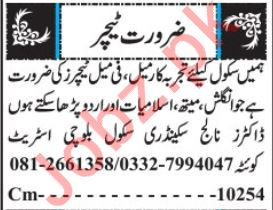 Teachers Jobs 2019 For Schools In Quetta Balochistan