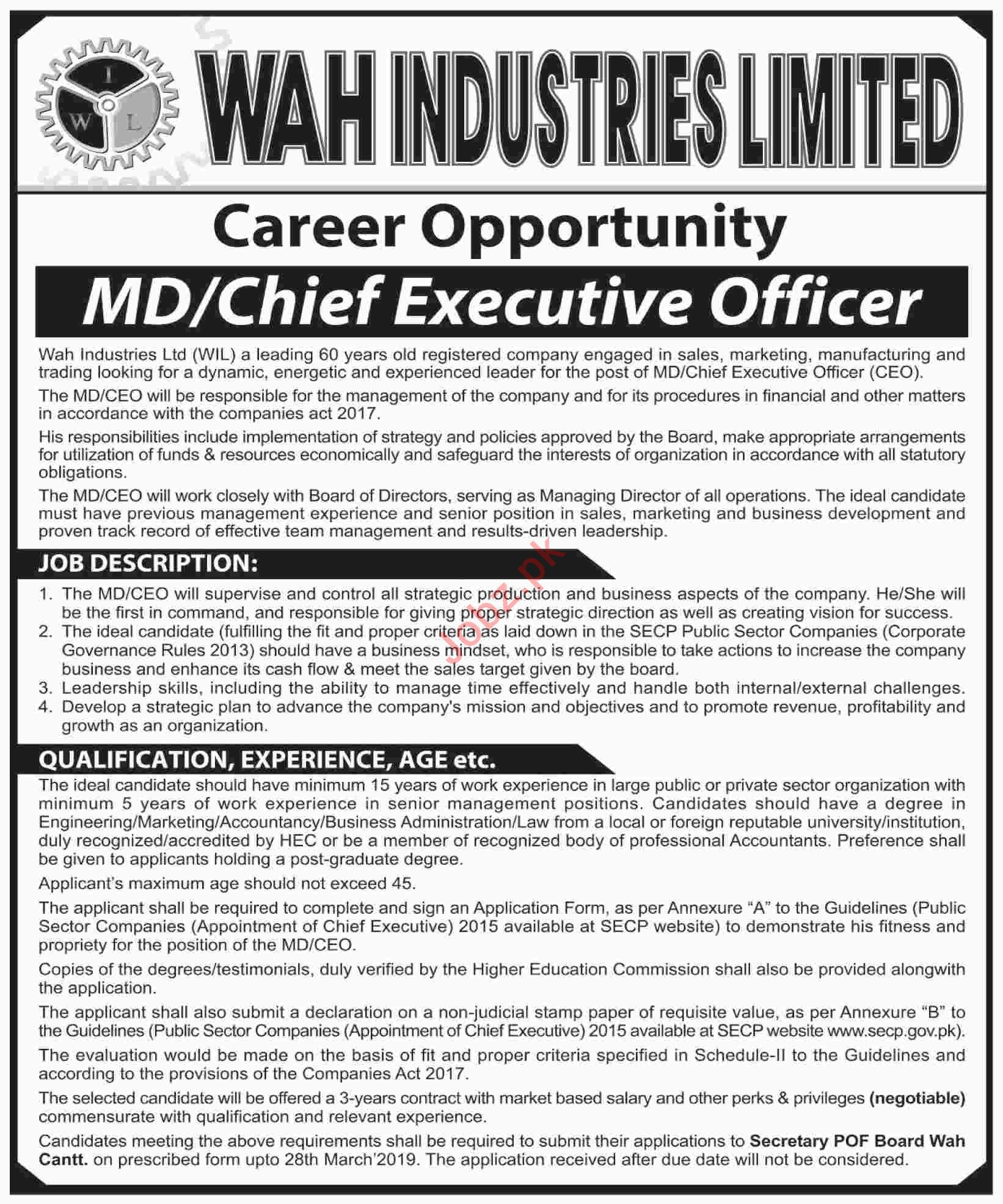 Wah Industries Limited WIL Jobs 2019 Chief Executive Officer