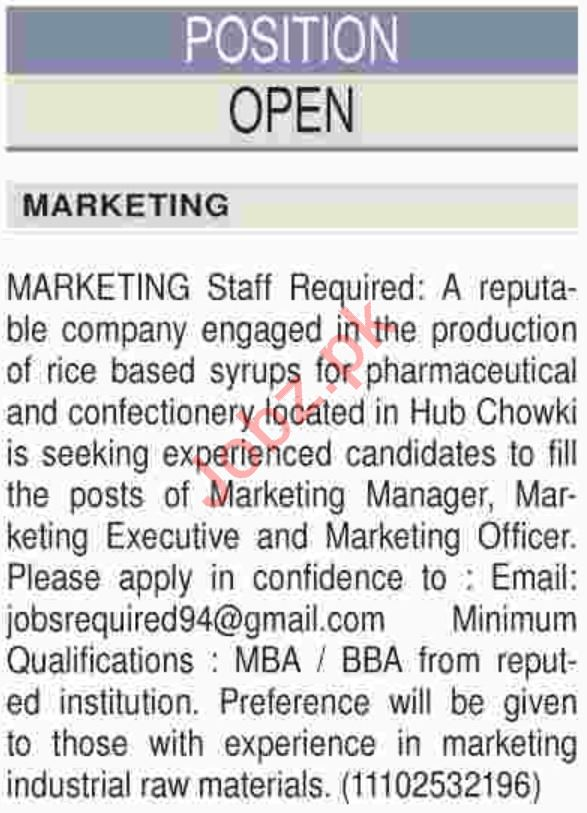 Marketing Manager, Executive & Marketing Officer Jobs