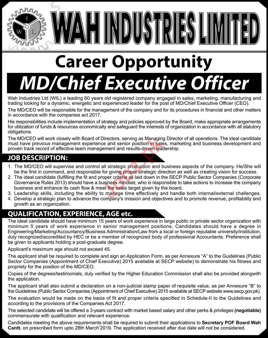 Wah Industries Limited WIL Wah Cantt Jobs 2019