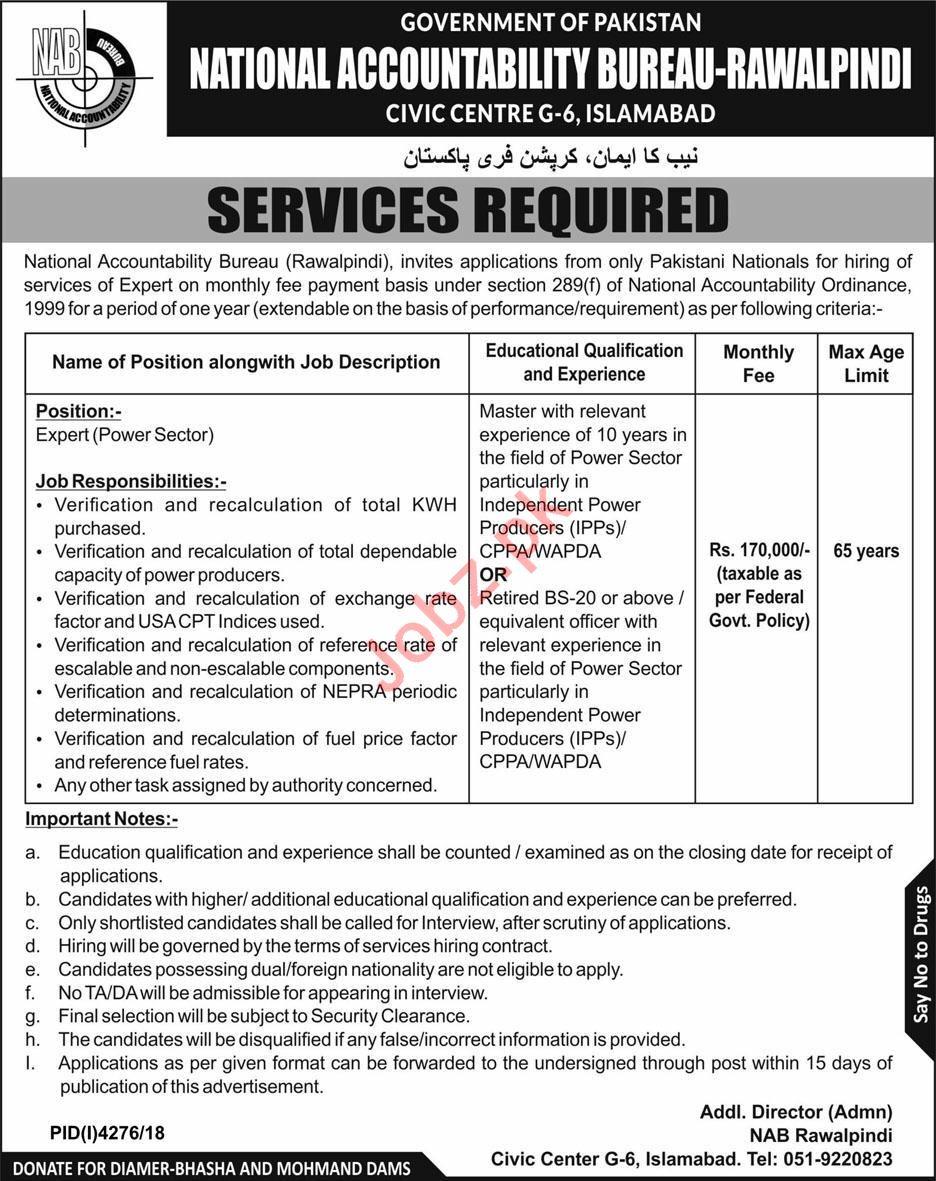 National Accountability Bureau NAB Rawalpindi Jobs 2019