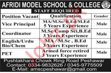 Afridi Model School & College Jobs 2019 in Peshawar KPK