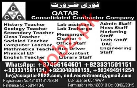 Consolidated Contractor Company CCC Jobs 2019 In Qatar