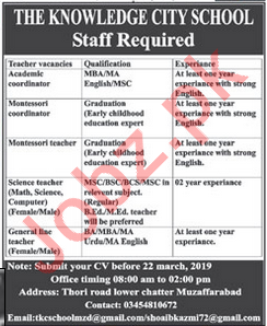 The Knowledge City School Faculty Jobs 2019