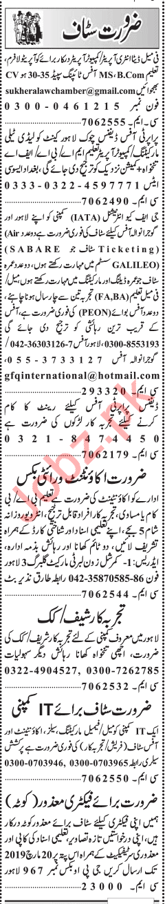 Daily Jang Miscellaneous Staff Jobs 2019 in Lahore