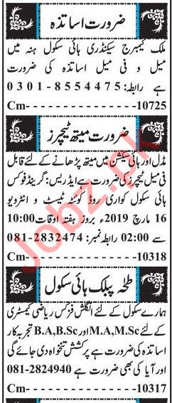 Teachering Staff Jobs 2019 in Quetta