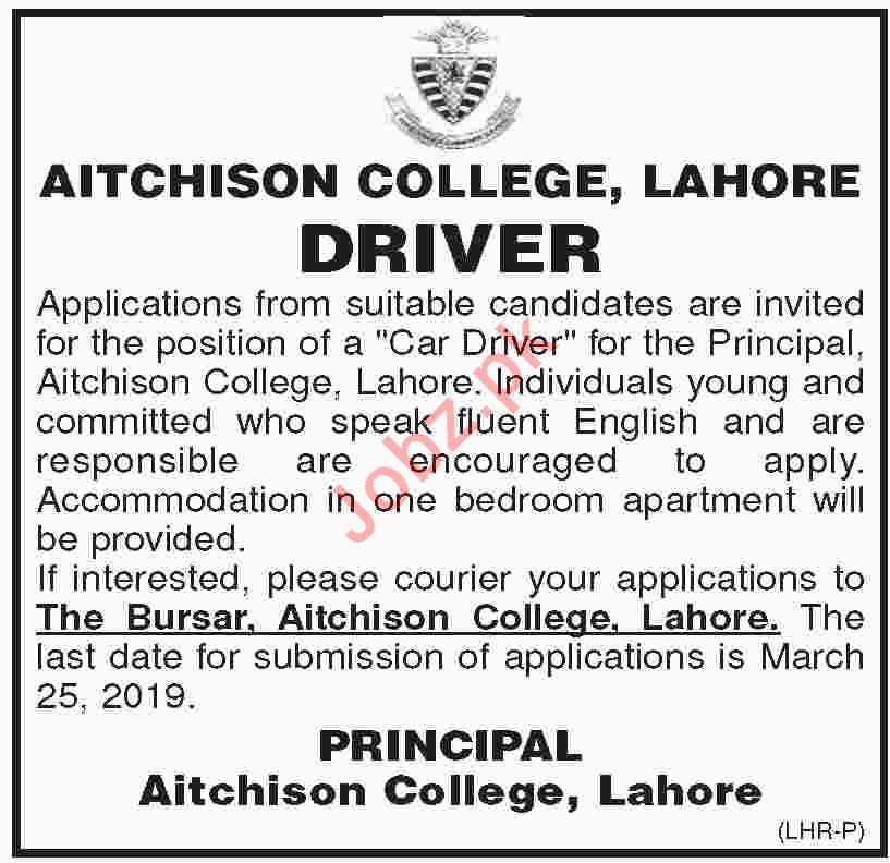 Aitchison College Lahore Jobs 2019 for Drivers
