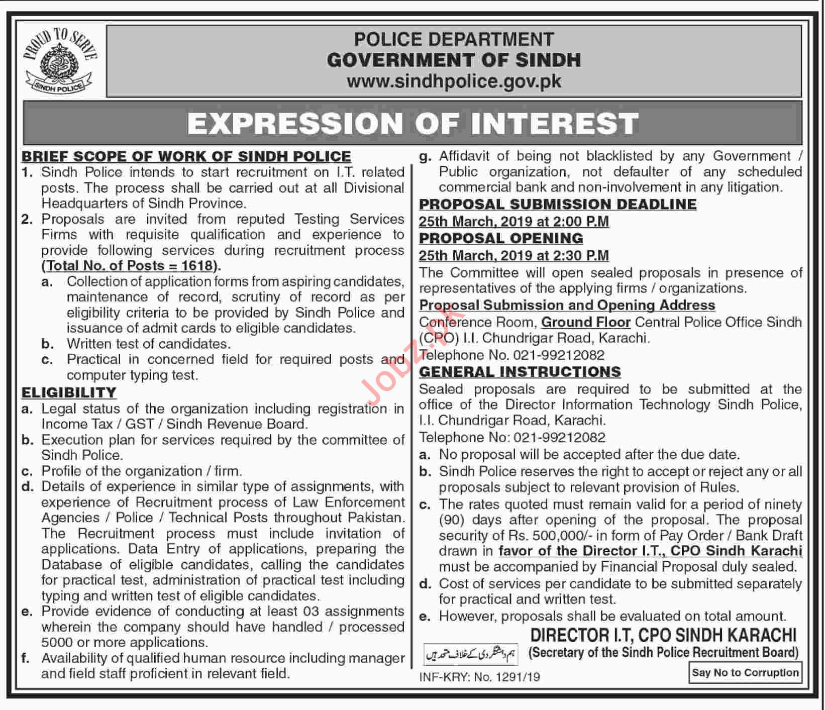 Sindh Police Jobs 2019 for IT Staff