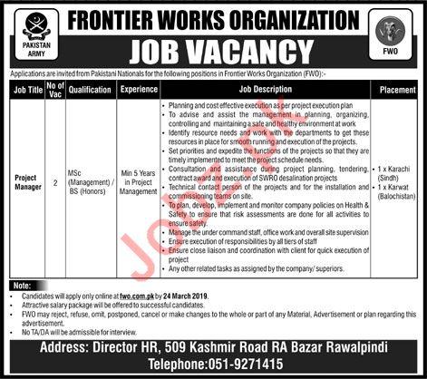 Frontier Works Organization FWO Rawalpindi Jobs 2019