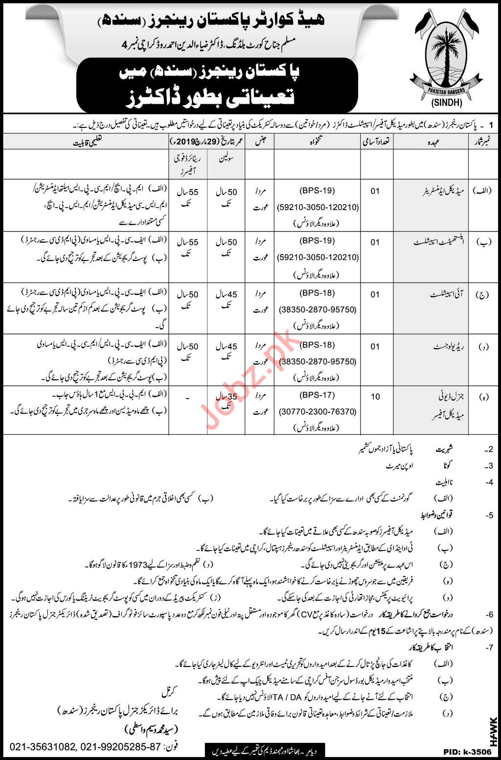 Pakistan Rangers Sindh Jobs 2019 for Medical Officers