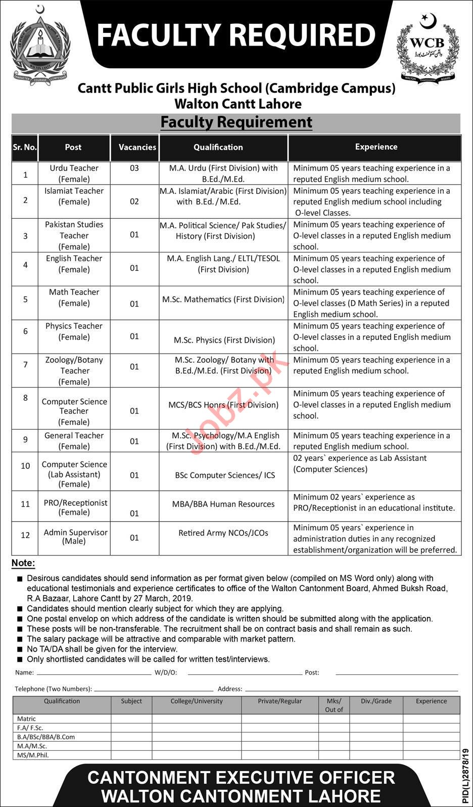 Cantt Public Girls High School Cambridge Campus Lahore Jobs