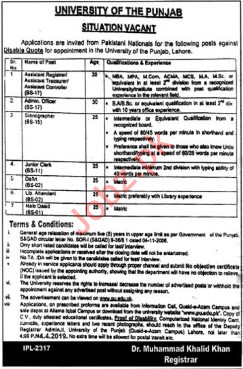 University of the Punjab PU Lahore Jobs for Registrars
