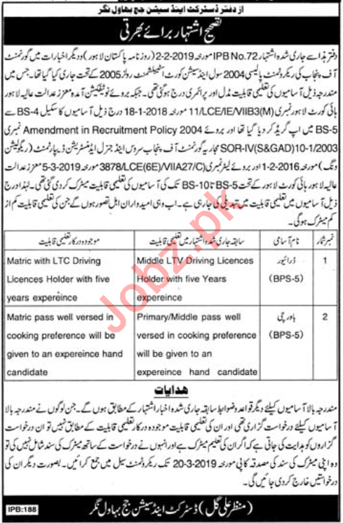 District & Session Court Bahawalnagar Jobs 2019 for Drivers